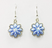 Daisy SuperDuo Earrings Beadwork Kit with SWAROVSKI® Elements - Blue and Silver
